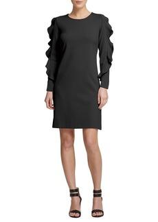 DKNY Donna Karan Ruffled Long-Sleeve Sheath Dress