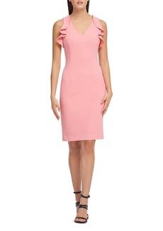 DKNY Donna Karan Ruffled Scuba Crepe Dress