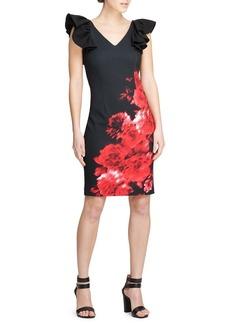 DKNY Donna Karan Ruffled-Sleeve Floral Sheath Dress