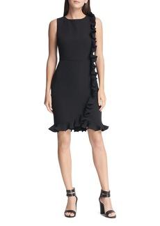 DKNY Donna Karan Ruffled Sleeveless Sheath Dress