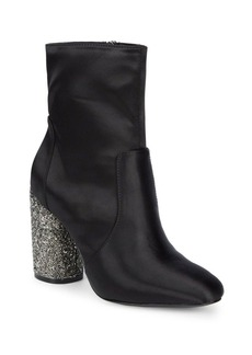 DKNY Donna Karan Satin Booties with Sequin Heel