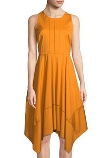 Donna Karan Satin-Piped Sleeveless Handkerchief Dress