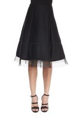 DKNY Donna Karan Sculpted Tulle-Trimmed Full Skirt