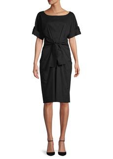 DKNY Donna Karan Self-Tie Cotton Blend Knee-Length Dress