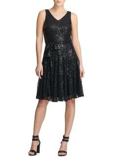DKNY Donna Karan Sequined Fit-&-Flare Dress
