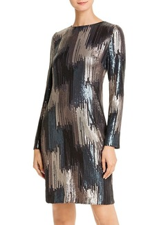 DKNY Donna Karan New York Sequined Long-Sleeve Dress