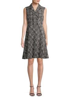 DKNY Donna Karan Sleeveless Collared Tweed Dress