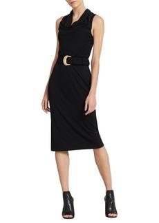 DKNY Donna Karan Sleeveless Cowlneck Belted Sheath Dress