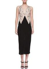 DKNY Donna Karan Sleeveless Embroidered Plunge-Neck Dress