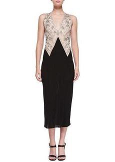 Donna Karan Sleeveless Embroidered Plunge-Neck Dress