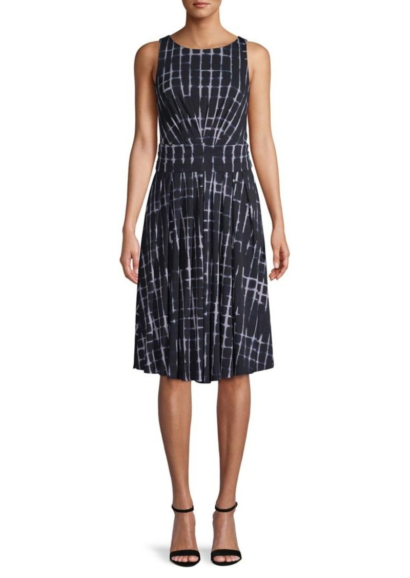 DKNY Donna Karan Sleeveless Tie-Dye Printed Dress