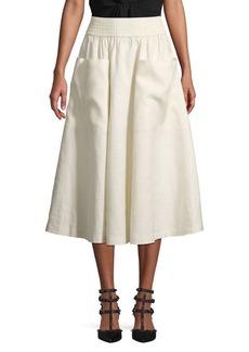 DKNY Donna Karan Smocked Waist Linen A-Line Skirt