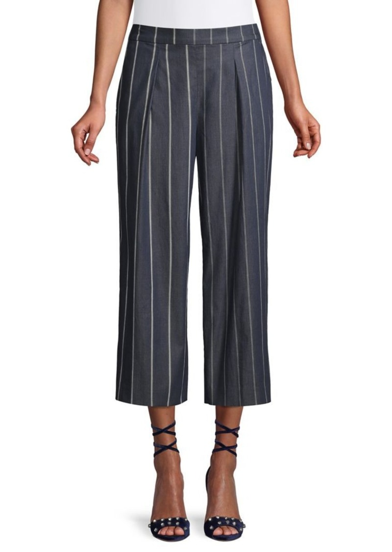 DKNY Donna Karan Striped Wide-Leg Cropped Pants