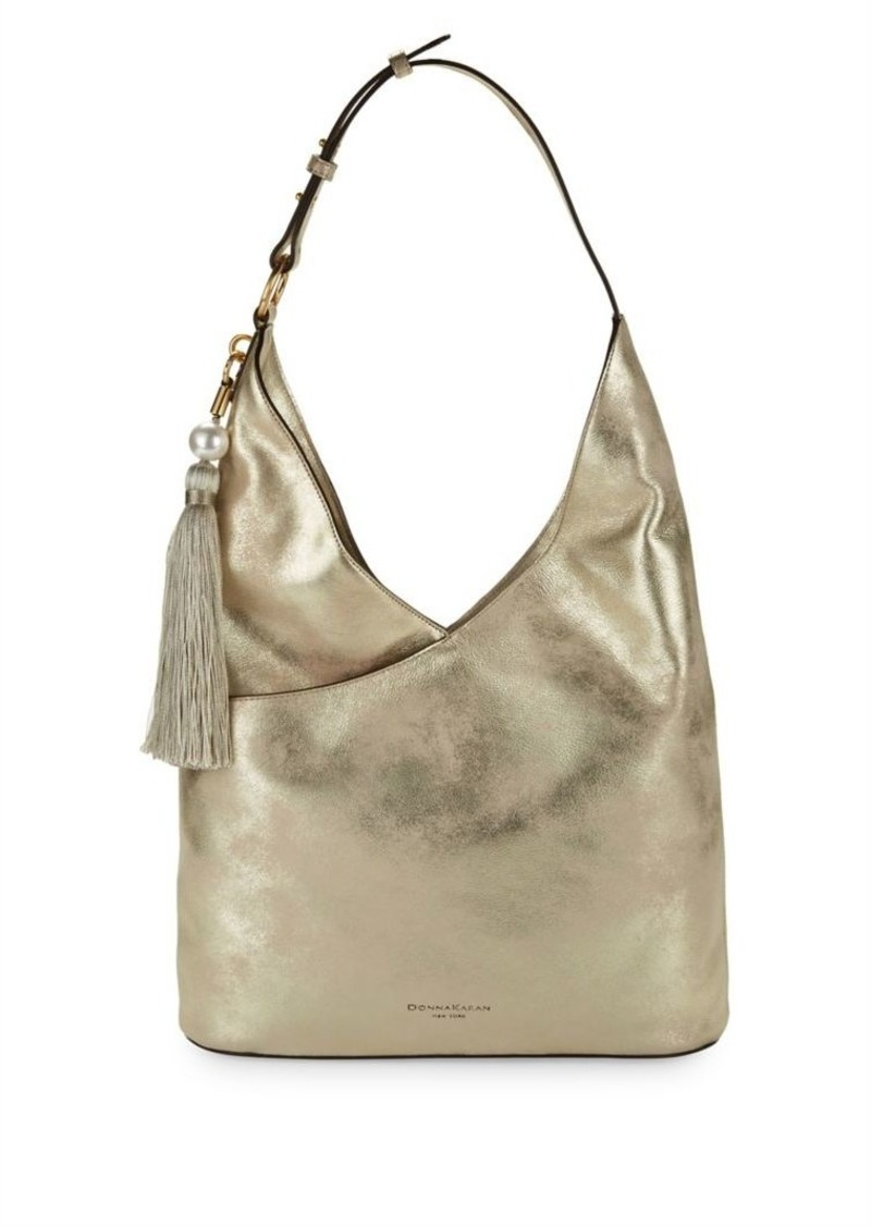 Dkny Donna Karan Tassel Metallic Hobo Bag