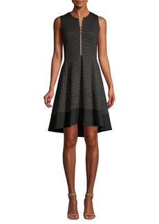 DKNY Donna Karan Textured Knit Zip-Front Dress