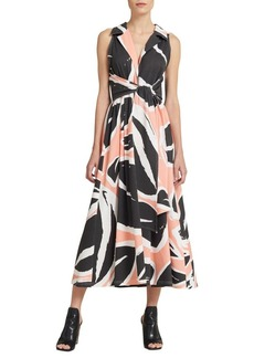 DKNY Donna Karan Printed Cotton Midi Dress