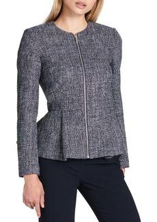 DKNY Donna Karan Tweed Peplum Zip Jacket