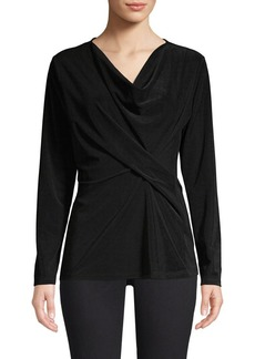 DKNY Donna Karan Twist Front Long Sleeve Top