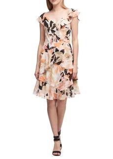 DKNY Donna Karan V-Neck Cascading Ruffle Dress