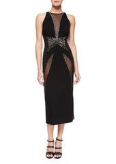 DKNY Donna Karan V-Neck Mesh-Insert Sheath Dress