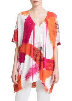 DKNY Donna Karan V-Neck Printed Blouse