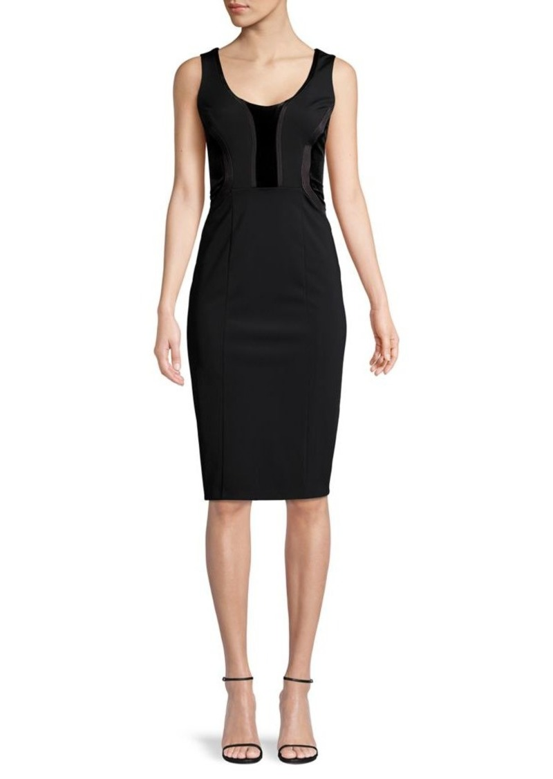 DKNY Donna Karan Velvet Combo Sheath Dress