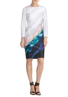 DKNY Donna Karan Watercolor-Print Sheath Dress