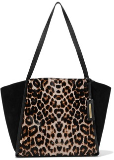 DKNY Donna Karan Woman Alan Leopard-print Calf Hair Suede And Textured-leather Tote Animal Print