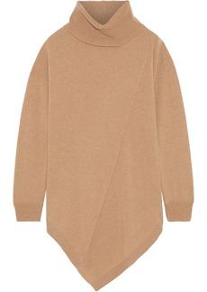 DKNY Donna Karan Woman Asymmetric Cashmere Turtleneck Sweater Camel