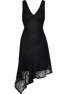 DKNY Donna Karan Woman Asymmetric Macramé Lace Dress Black
