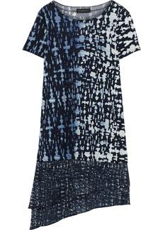 DKNY Donna Karan Woman Asymmetric Printed Chiffon-paneled Jersey Dress Storm Blue