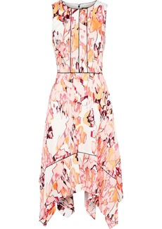 DKNY Donna Karan Woman Asymmetric Printed Crepe De Chine Dress Blush