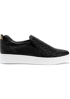 DKNY Donna Karan Woman Abel Basketweave Leather Slip-on Sneakers Black