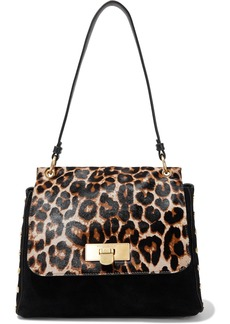 DKNY Donna Karan Woman Baylee Leopard-print Calf Hair-paneled Suede Shoulder Bag Animal Print