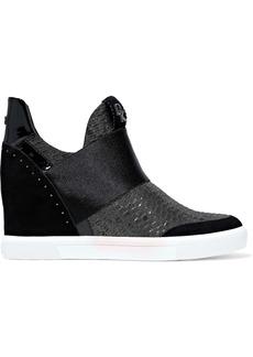 DKNY Donna Karan Woman Cailin Satin-paneled Metallic Woven Wedge Sneakers Black