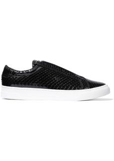 DKNY Donna Karan Woman Caya Snake-effect Patent-leather Slip-on Sneakers Black