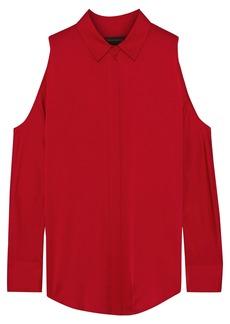 DKNY Donna Karan Woman Cold-shoulder Stretch-silk Satin Shirt Red