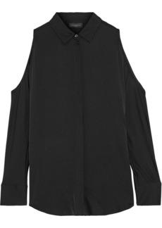 DKNY Donna Karan Woman Cold-shoulder Washed Silk-blend Shirt Black