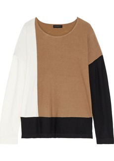 DKNY Donna Karan Woman Color-block Stretch-knit Sweater Camel