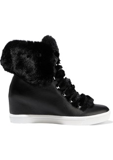 DKNY Donna Karan Woman Cristin Faux Fur-trimmed Textured-leather Wedge Sneakers Black