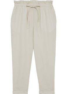 DKNY Donna Karan Woman Cropped Linen Tapered Pants Ecru