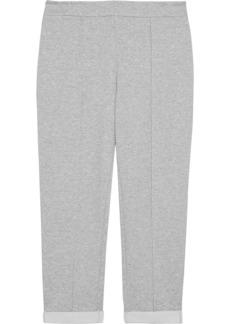 DKNY Donna Karan Woman Cropped Mélange Stretch-jersey Track Pants Light Gray