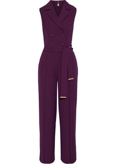 DKNY Donna Karan Woman Double-breasted Satin-trimmed Woven Jumpsuit Purple