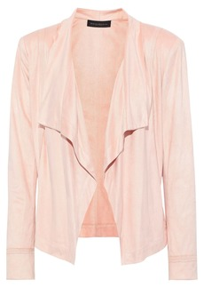 DKNY Donna Karan Woman Draped Faux Suede Jacket Blush