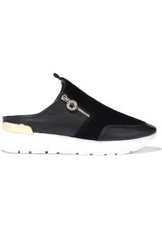 DKNY Donna Karan Woman Effie Zip-detailed Suede And Leather Slip-on Sneakers Black