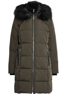 DKNY Donna Karan Woman Faux Fur-trimmed Quilted Shell Down Hooded Coat Army Green