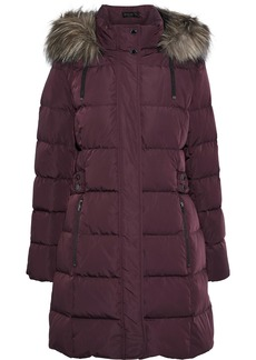 DKNY Donna Karan Woman Faux Fur-trimmed Quilted Shell Down Hooded Coat Plum