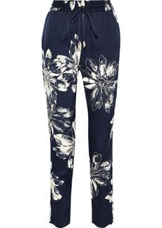 DKNY Donna Karan Woman Floral-print Crepe De Chine Track Pants Navy
