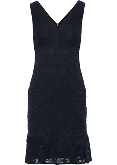 DKNY Donna Karan Woman Fluted Corded Lace Dress Navy