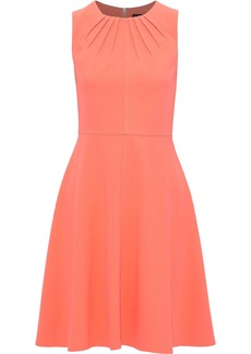 DKNY Donna Karan Woman Fluted Pleated Stretch-crepe Dress Coral